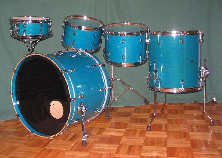custom blue sparkle drum set